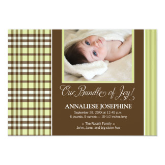 Preppy Plaid Baby Birth Announcement (lime)