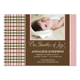 Preppy Plaid Baby Birth Announcement (pink)