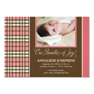 Preppy Plaid Baby Birth Announcement (rose)