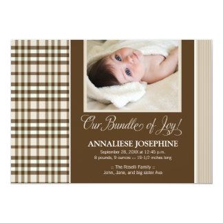 Preppy Plaid Baby Birth Announcement (taupe)