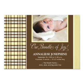Preppy Plaid Baby Birth Announcement (yellow)