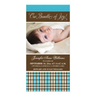 Preppy Plaid Birth Announcement (aqua) Customized Photo Card
