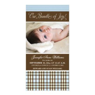 Preppy Plaid Birth Announcement (blue) Photo Card Template