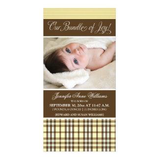 Preppy Plaid Birth Announcement (lemon) Customized Photo Card