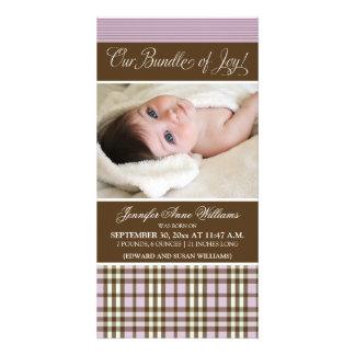 Preppy Plaid Birth Announcement (lilac) Photo Card