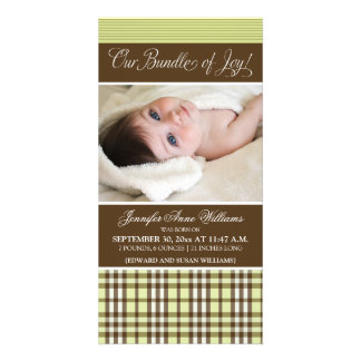 Preppy Plaid Birth Announcement (lime green) Picture Card