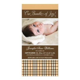 Preppy Plaid Birth Announcement (peach) Custom Photo Card