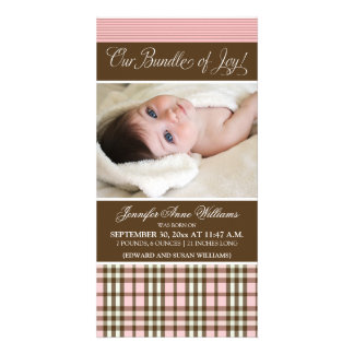 Preppy Plaid Birth Announcement (pink) Photo Card Template