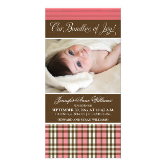 Preppy Plaid Birth Announcement (rose) Custom Photo Card
