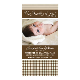 Preppy Plaid Birth Announcement (taupe) Photo Cards