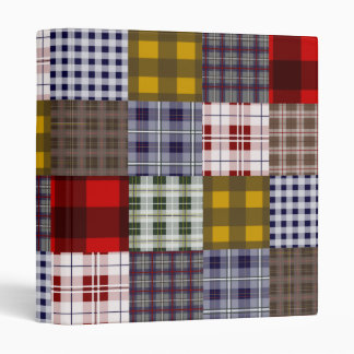 Preppy Plaid Patchwork Design Vinyl Binders