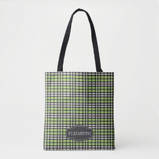 Preppy Plaid Tartan Personalized Tote (green)