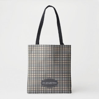 Preppy Plaid Tartan Personalized Tote (tan)