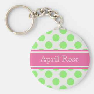 Preppy Polka Dot Basic Round Button Keychain