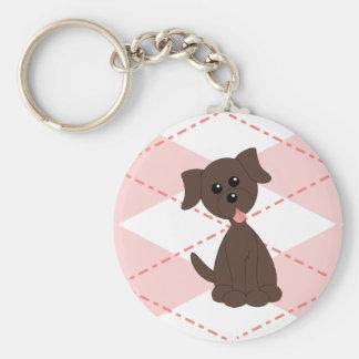 Preppy Puppy Basic Round Button Keychain