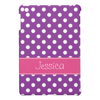Preppy Purple and Pink Polka Dots Personalized iPad Mini Cases
