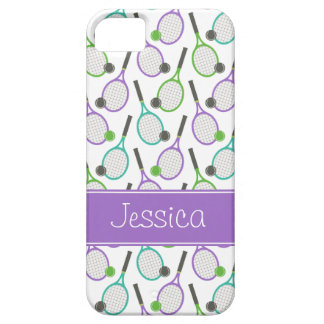 Preppy Purple Green Teal Tennis Personalized iPhone 5 Case