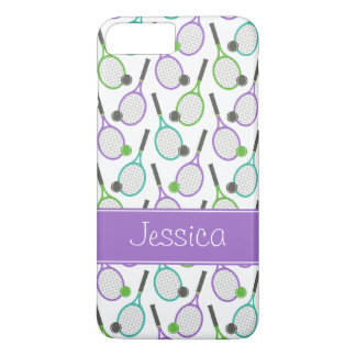 Preppy Purple Green Teal Tennis Personalized iPhone 7 Plus Case