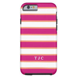 Preppy Raspberry Pink Stripe Monogram Tough iPhone 6 Case