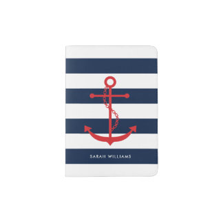 Preppy Red and Blue Anchor Passport Holder