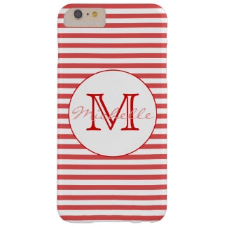 Preppy Red and White Stripes | Monogram Barely There iPhone 6 Plus Case