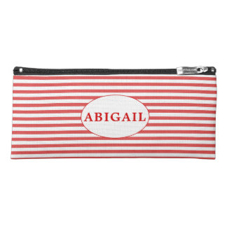 Preppy red and White Stripes   Personalized Pencil Case