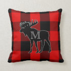 Preppy Red Buffalo Check | Monogrammed Moose Throw Pillow