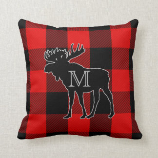 Preppy Red Buffalo Check | Monogrammed Moose Throw Pillow
