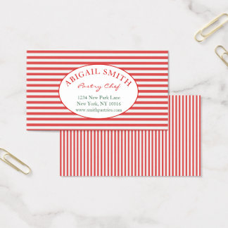Preppy Red & Stripes Personalized Business Card