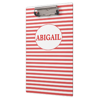 Preppy Red & White Stripes Personalized Clipboard