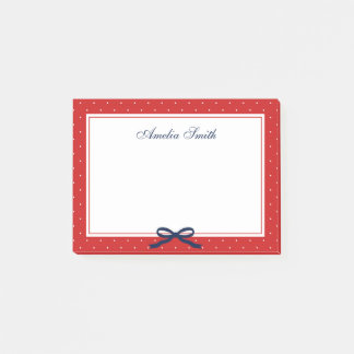 Preppy Red with White Polka Dot Blue Ribbon Post-it Notes