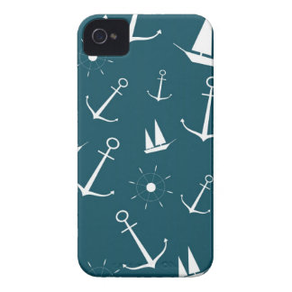 Preppy retro vintage anchors sailboats anchor Case-Mate iPhone 4 case