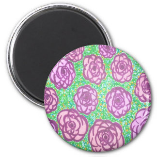 Preppy Rose Garden Floral Print 2 Inch Round Magnet