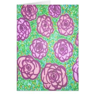 Preppy Rose Garden Floral Print Card