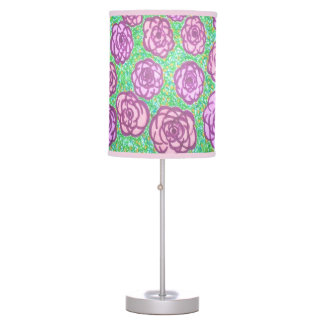 Preppy Rose Garden Floral Print Lamp