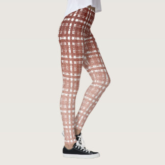 Preppy Sherbet Pink Ombre Plaid Fashion Leggings