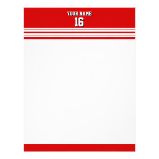 Preppy Sporty Red with White Stripes Team Jersey Letterhead