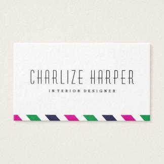 Preppy stripe business card