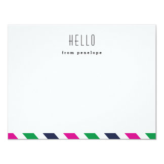 Preppy stripe hello notecard | Flat notecard