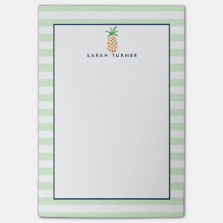 Preppy Stripe Pineapple Personalized Post-it Notes