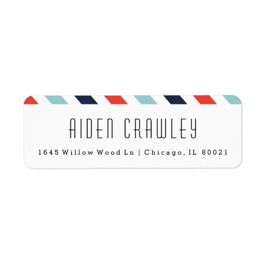 Preppy stripe return address labels