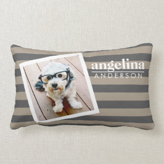 Preppy Striped Pattern Custom Name and Photo Lumbar Pillow