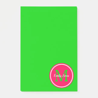 Preppy Summer Pink and Green Monogram Post-it Notes
