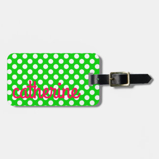 Preppy Summer Pink and Green With White Polka Dots Luggage Tag
