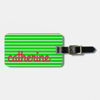 Preppy Summer Pink and Green With White Stripes Luggage Tag