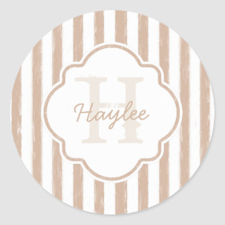 Preppy Tan Painted Stripes Monogram and Name Round Sticker