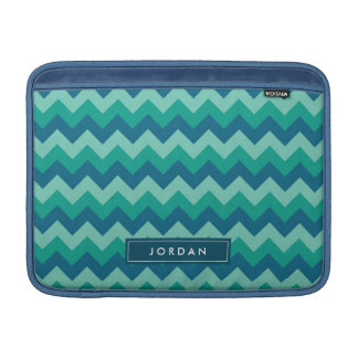 Preppy Teal Blue Chevron Personalized with Name MacBook Sleeves