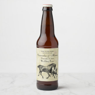 Preppy Vintage Horses Mother Baby Foal Beer Bottle Label