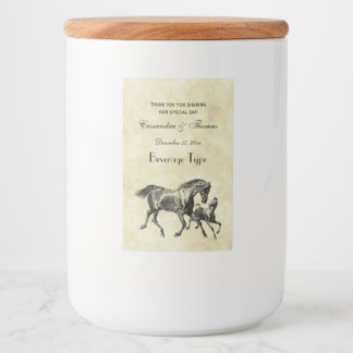 Preppy Vintage Horses Mother Baby Foal Food Label