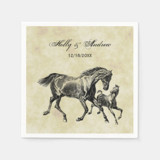 Preppy Vintage Horses Mother Baby Foal Paper Napkins